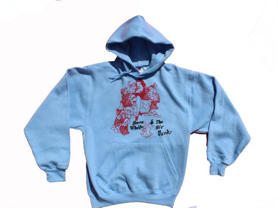 Snow White and the Sir Punks Hooded Jumper - Blue Hoodie Sweater