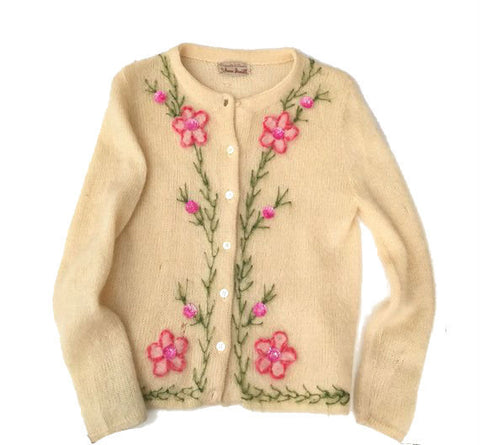 Vintage wool Cardigan - button up embellished sweater - sequin embroidered jumper - kitsch grandma floral pastel