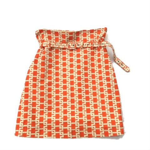 Vintage Orange Pencil Skirt by Tommy Hilfiger with white chain pattern - detachable belt