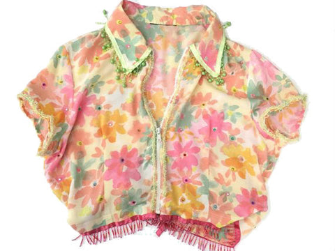 Vintage Pastel Shirt - Zip front floral collar blouse with glitter edge - embellished beaded tassel fringing -Hawaiian - loose crop fit
