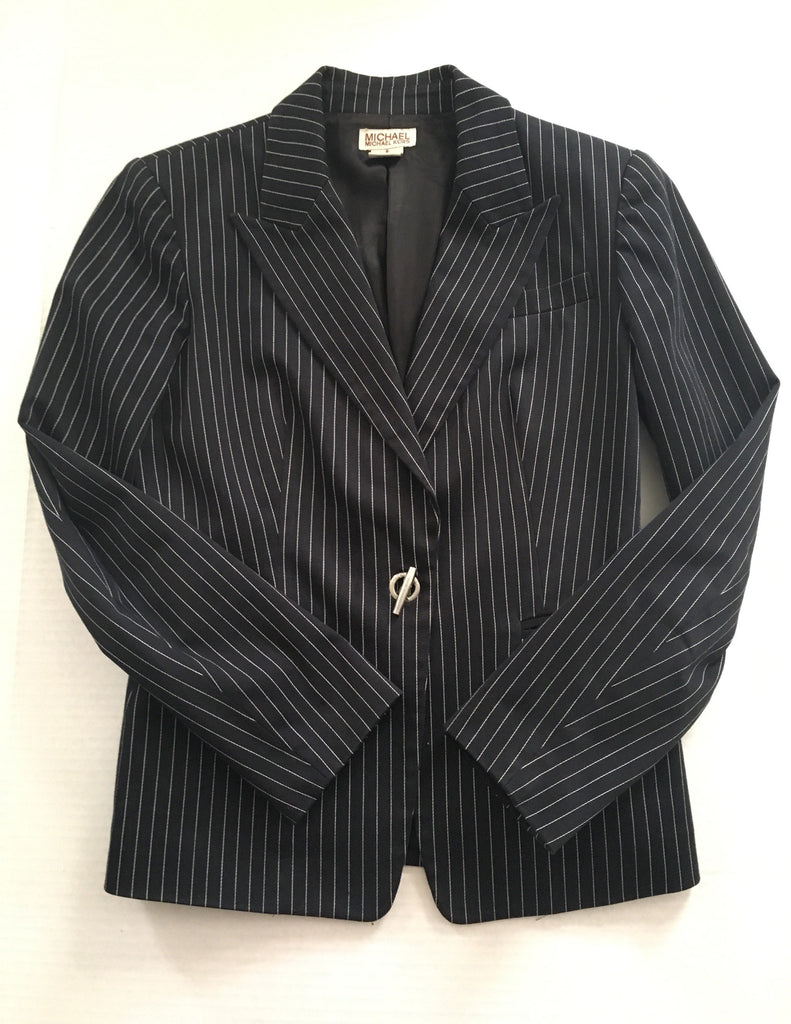 Vintage Michael Kors Pinstripe Suit -Stripe blazer and trousers - nineties black navy striped pantsuit matching set 90s two piece