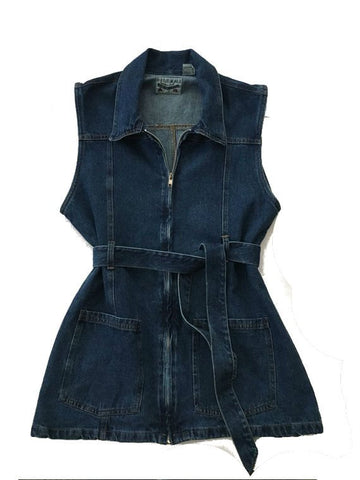 Vintage Denim Vest Top -Sleeveless belted collar jacket - western jeans waistcoat tie waist -cowgirl -Jean
