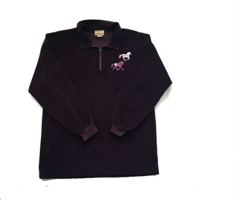 Vintage purple corduroy shirt -horse embroidery retro high neck collar long sleeve top - horses pattern corduroy  large
