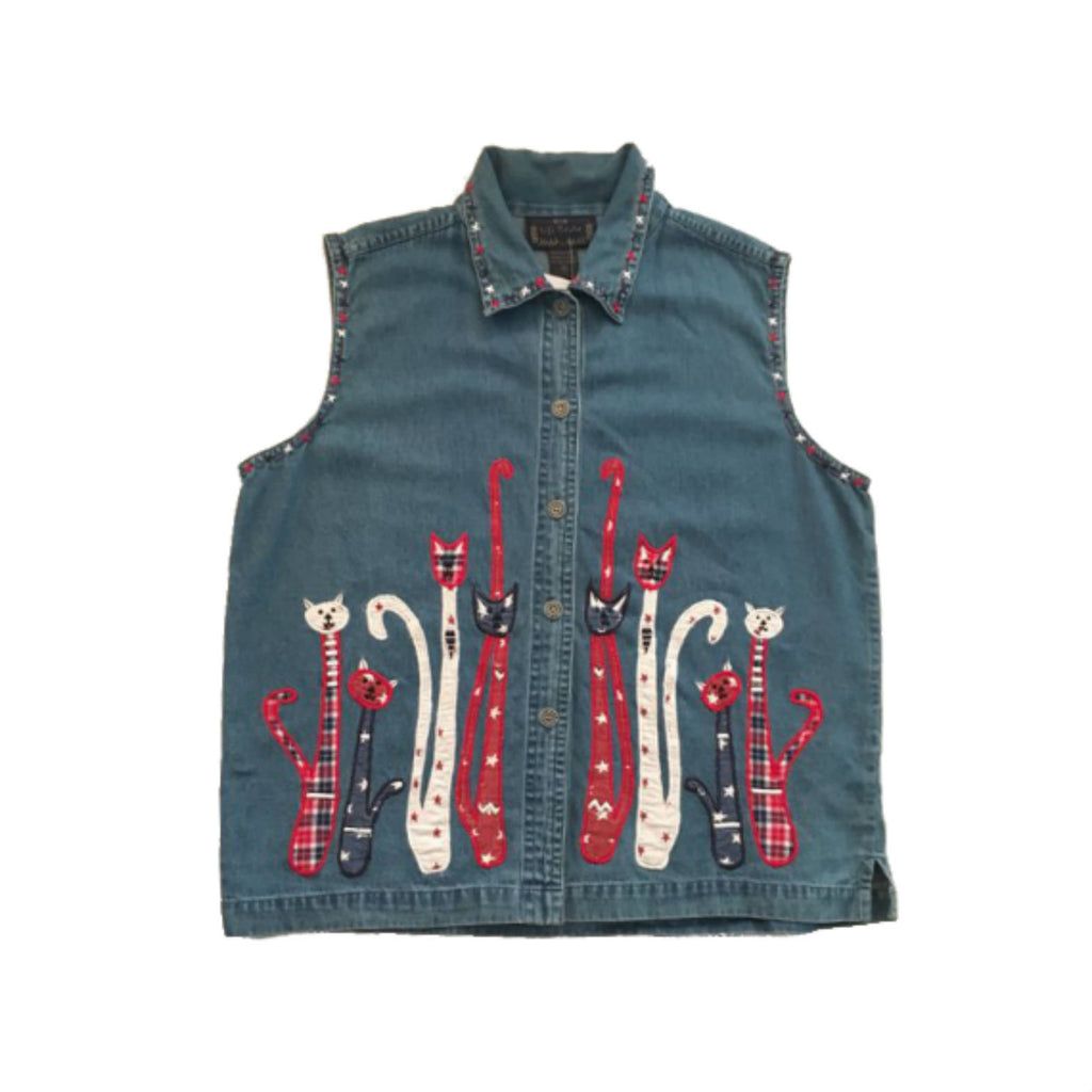 Vintage Denim Cat Vest-embroidered cats jacket - sleeveless jeans waistcoat kitsch kitty- tartan- retro