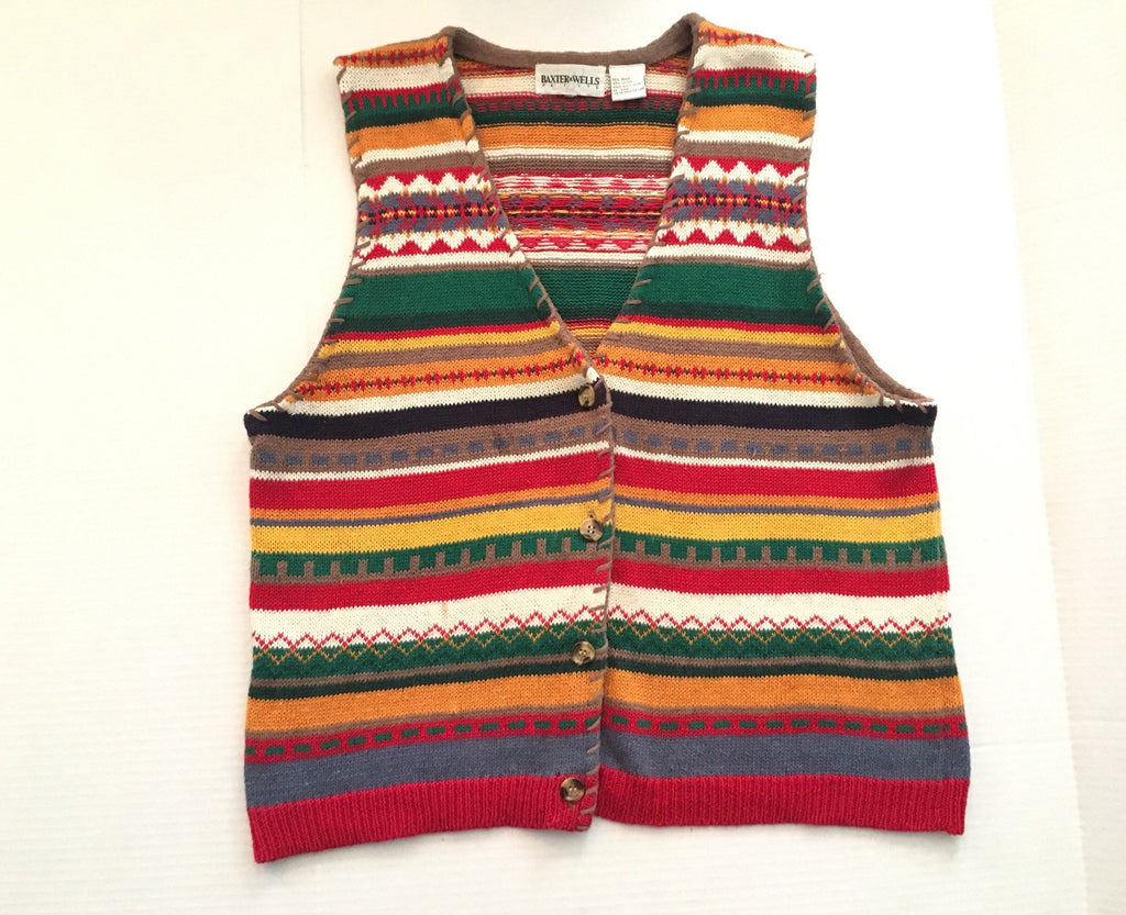 Vintage retro striped knit vest  - wool button up sweater - stripe waistcoat multicolour jumper -XL