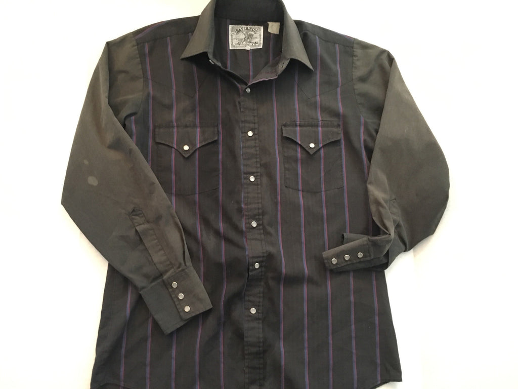 Vintage black stripe shirt  western retro  button down  pinstripe collar long sleeve Mens M/L