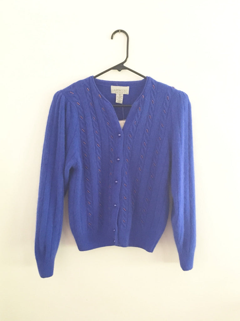 Vintage Angora Cardigan - Bright Blue button up sweater - embellished Beaded long sleeve - rabbit -Original Tags