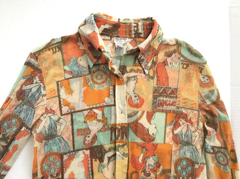 Vintage paper thin Art Deco seventies shirt - 1970s patterned button down collar blouse patterned top retro 70's