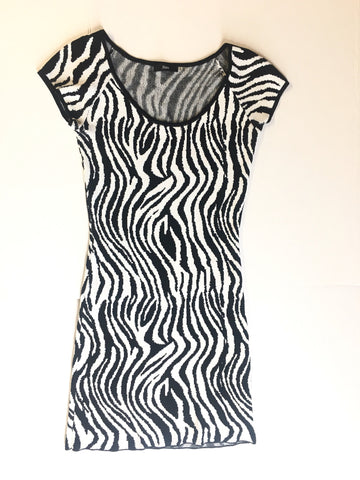 Vintage zebra Print pattern fitted short dress