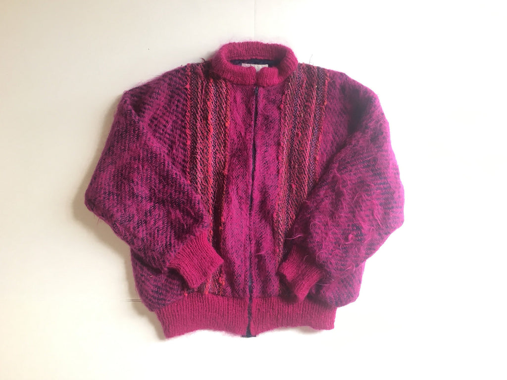 Vintage chunky wool Cardigan - bright pink zip up sweater - bold knit embroidered jumper -grandma -XL