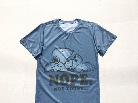Vintage snoopy t-shirt -'nope not today' shiny satin bootleg  tee