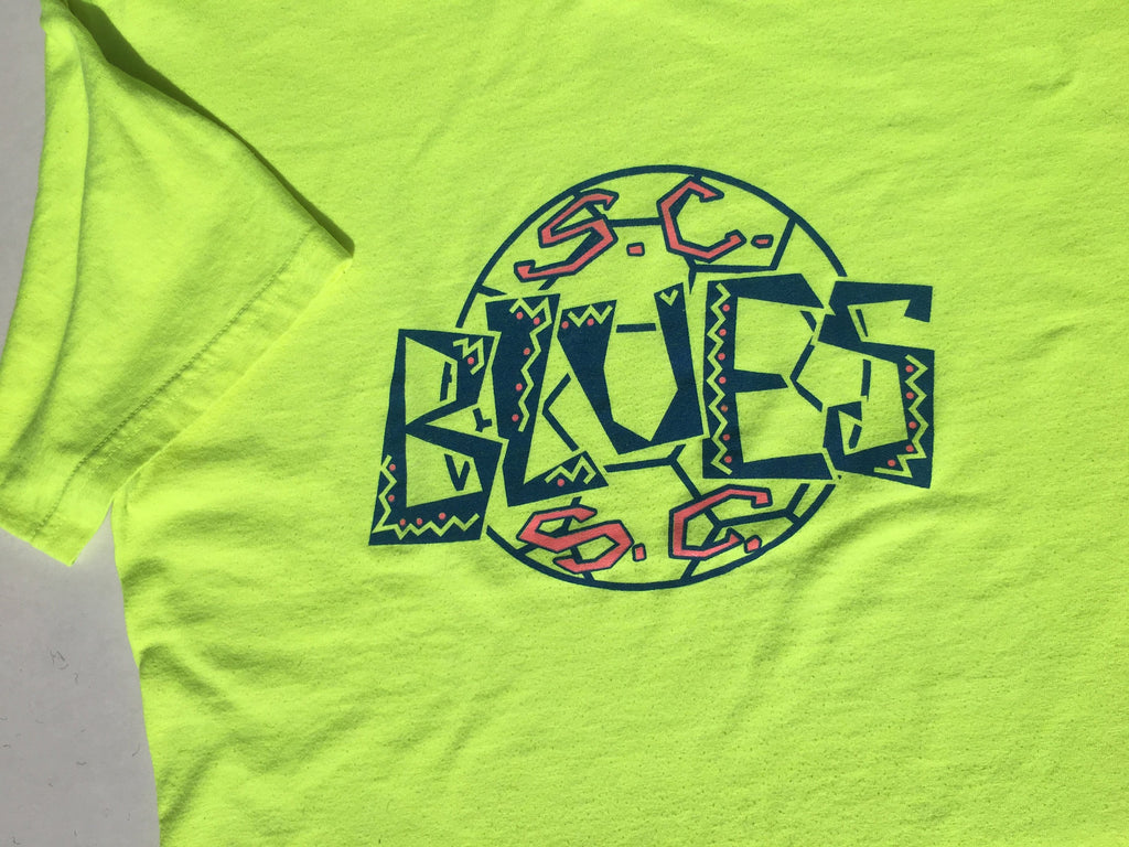 Fluorescent Yellow Neon Yellow Vintage t-shirt -Soccer bootleg vacation tee -  M