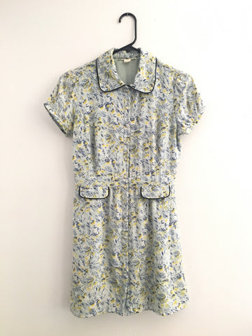 Vintage Silk Floral Patterned Tea Dress - with contrast piping