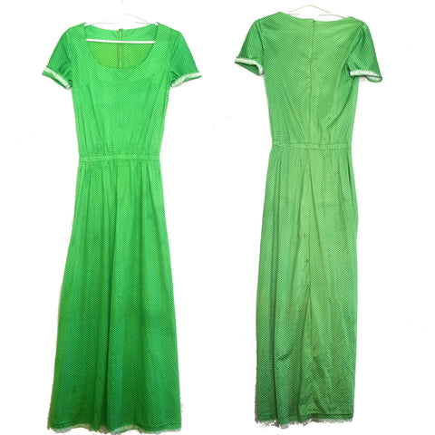 Vintage Green Polka Dot Maxi Dress