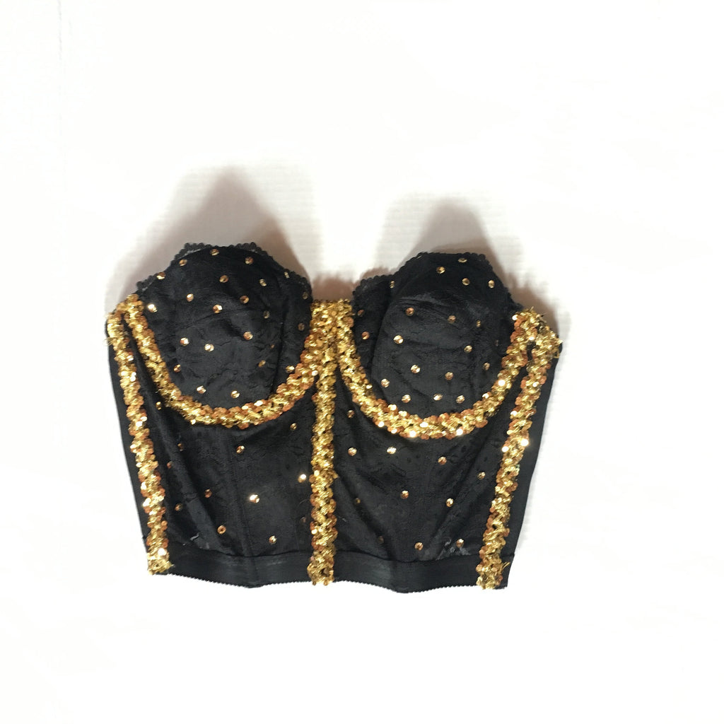 Vintage Black Bandeau Corset Top with Gold Sequins - 40C
