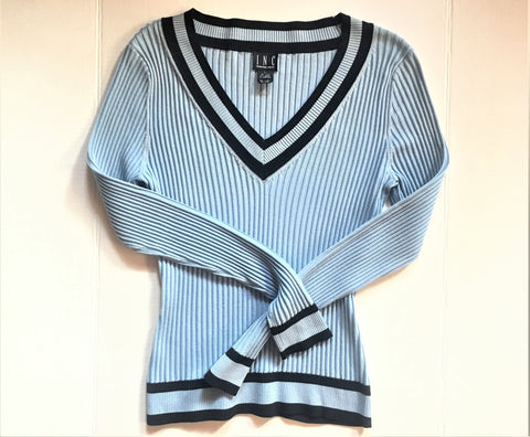 Baby Blue Ribbed V-neck Vintage Sweater with navy blue contrast edge