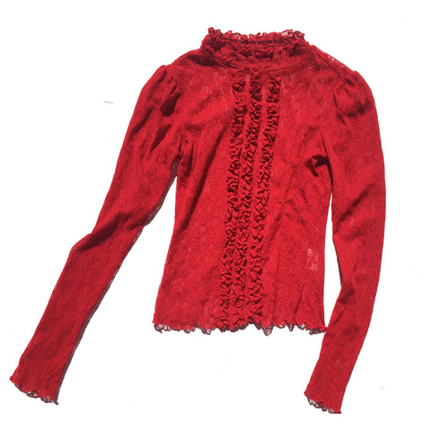 Red Lace High neck Blouse with Frill Front