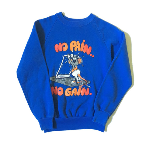 Vintage Sweatshirt 'No Pain No Gain' mouse - blue sweater petite XXS teen