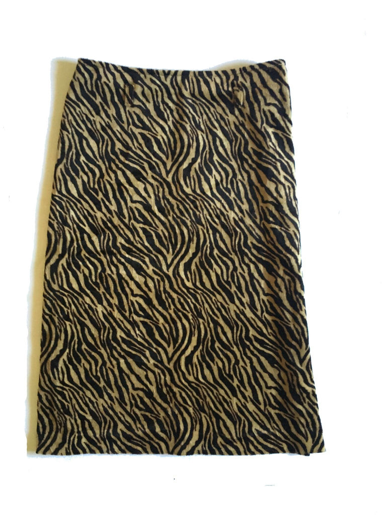Vintage Faux Fur Pencil Skirt -Animal Print -tiger stripe furry fuzzy - brown pure wool S high waist
