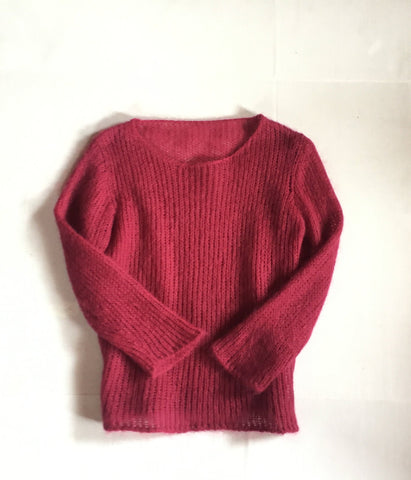 Vintage Mohair Cobweb Knit wool Sweater -Pink/Wine Red