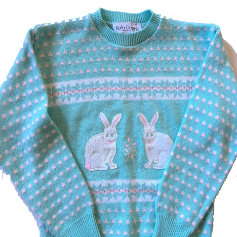 Easter Bunnies Vintage wool Sweater - pastel blue kitsch granny knit jumper felt bunny rabbit - Spring Fashion- Large