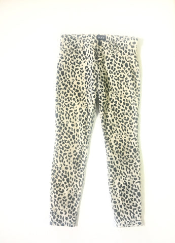Vintage White Leopard Super Skinny Jeans- animal pattern Denim leggings - nineties white black pants  Small Crop trousers - 28W