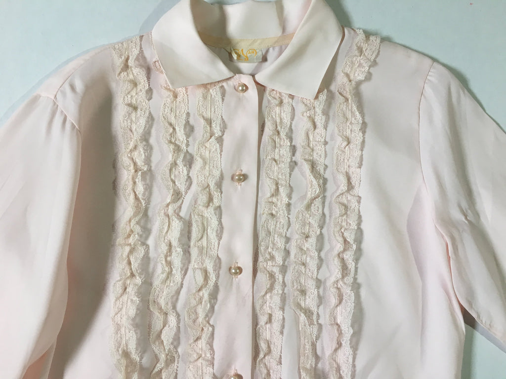 Vintage pale pink frill shirt blouse pastel retro  button down collar long sleeve top - bedshirt lingerie kitsch cute - cropped