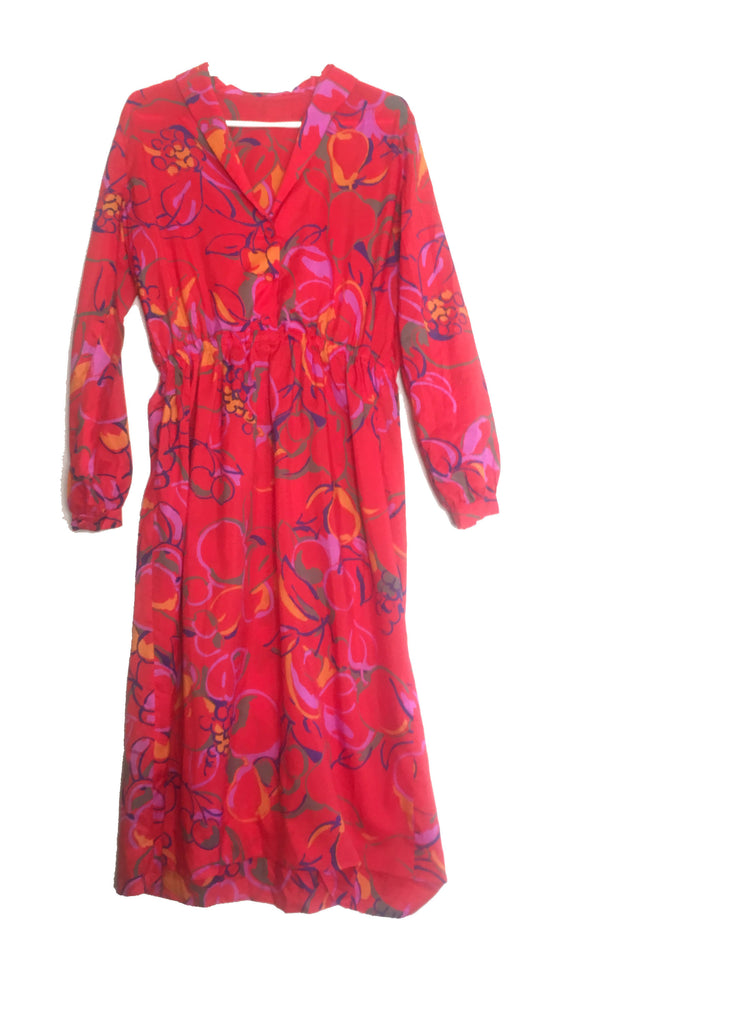 Vintage Long sleeve Red dress with abstract retro pattern