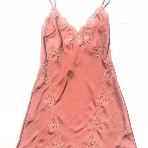 Vintage slip dress - Salmon Pink with lace trim