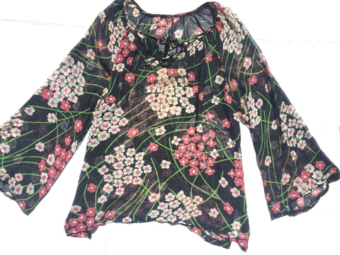 Vintage Pure Silk Blouse -Sixties Floral with bells sleeves