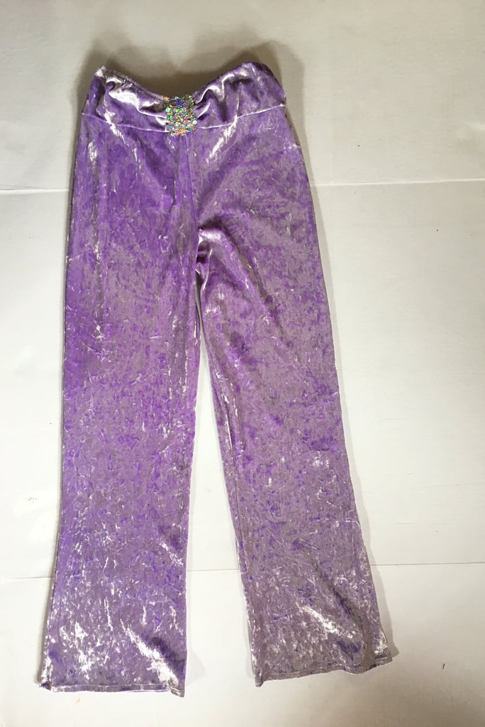 Vintage velvet pants- lilac metallic crushed velveteen trouseres sequin low rise 90s Retro 26W