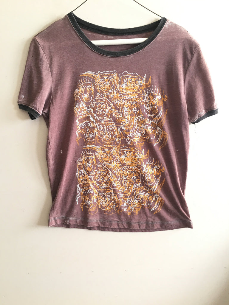 Illustrated T-Shirt Retro Ringer tee in brown with OOAK Artist Screenprint design - graphic shirt - womens S/M
