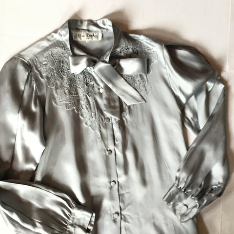 Vintage Pierre Cardin Silver Metallic Pussybow Collar Blouse