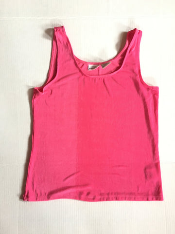Vintage bright pink slinky tank top- loose fit sleeveless vest    Y2k 90s  fushia neon