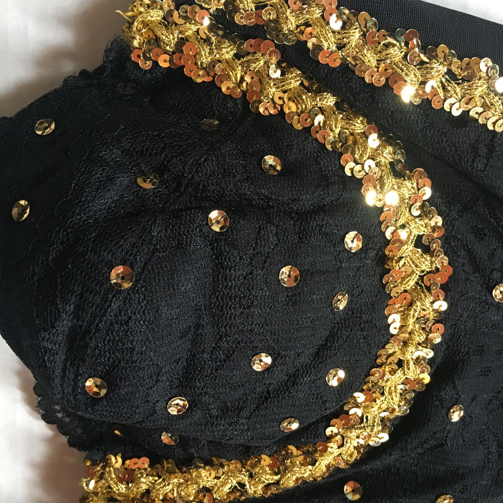 f70d42ccb3b Vintage Black Bandeau Corset Top with Gold Sequins - 40C - The Pirates