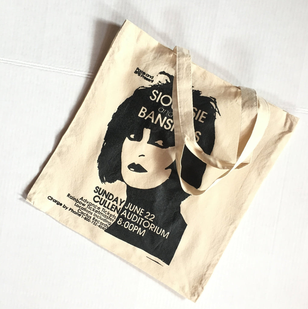 Siouxsie Soo Tote Bag - Hand screen printed Punk canvas shopper - Siouxsie and the Banshees Vintage Gig poster