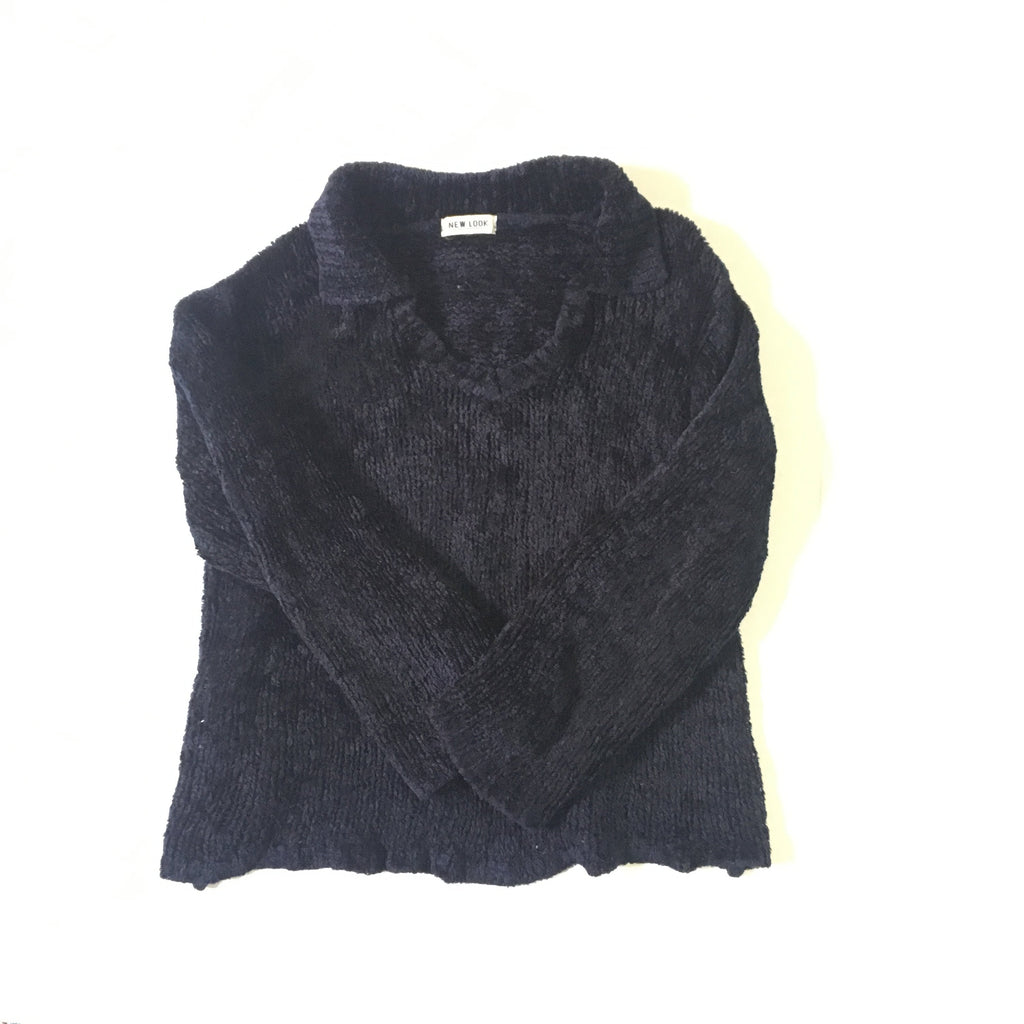 Vintage Dark Navy chenille wool Crop Sweater with collar