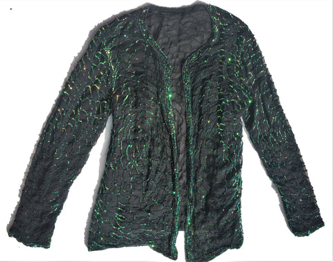 Vintage Black Mesh Jacket with Green Sequin - Metallic Sequinned Blazer - Embellished Beaded - S/M