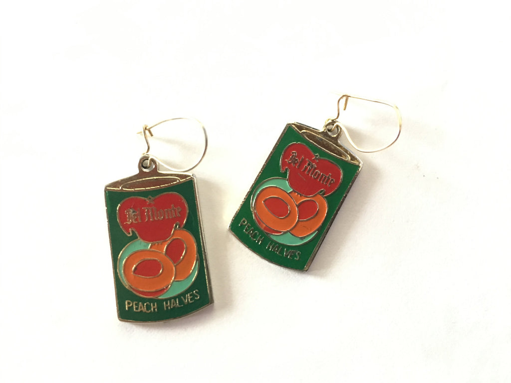 Vintage Miniature Del Monte Peach Halves Dangle Earrings -Retro Enamel