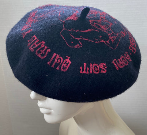 BERET Seditionaries HONI SOIT Threesome Sex Black Wool Hat M-L 23""
