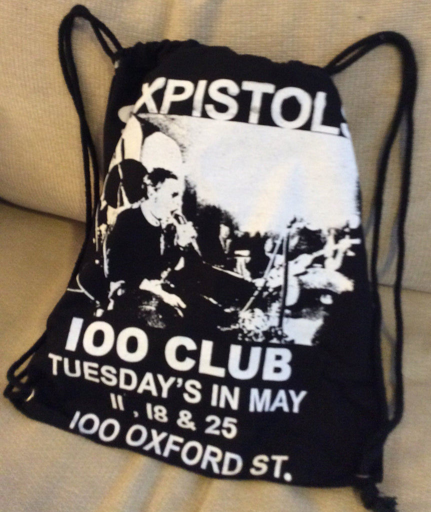 Sex Pistols Punk BAG -100 CLUB Gig print -Backpack Festival Rucksack