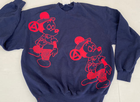 Mickey Mouse Drug Fix Sweatshirt Cartoon Punk Jumper L 40""