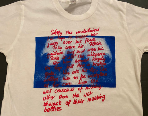 "Seditionaries TITS Erotic Text print T-shirt ""Softly she undulated her hips"""