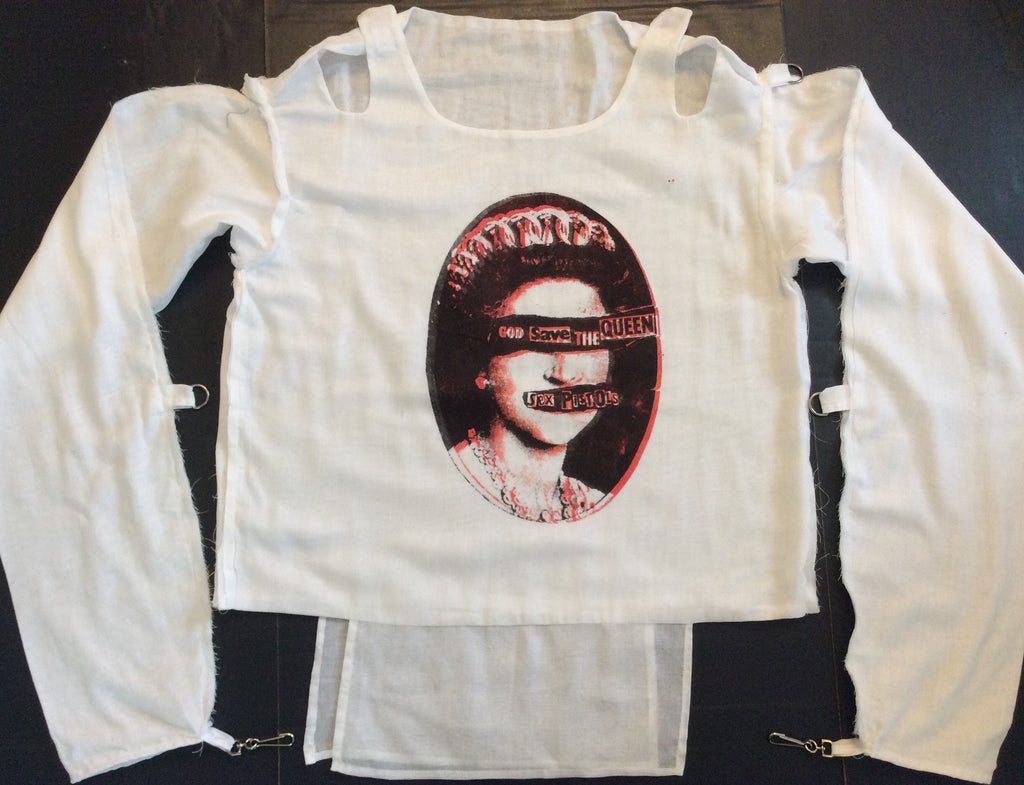 Bondage Shirt Pistols God Save the Queen Muslin Straight Jacket Large unisex