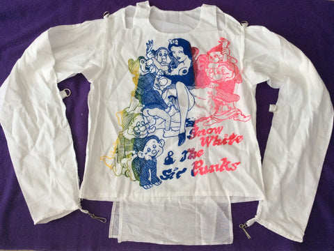 "Snow White & Sic Punks Bondage Shirt -Sex Pistols Anarchy Disney Straight Jacket- XSm 30""- 32"""