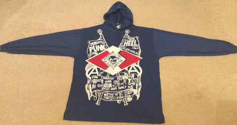 Anarchist Punk Gang Hoodie Shirt Blue Cotton Sweater XL