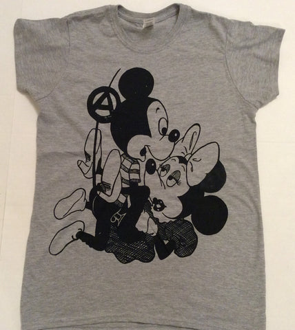 "Mickey Mouse SEX T-shirt Grey fitted Tee Petite 32"" UK 8 USA 4"