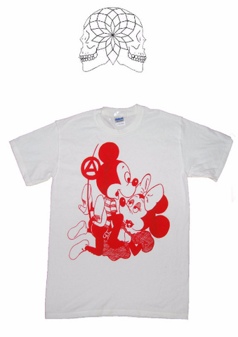 Mickey & Minnie Mouse Sex T-shirt- Punk Cartoon Tee - Red Print