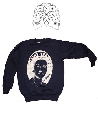 Sex Pistols Sweater - God Save The Queen with Evil Eyes - Navy Sweatshirt Sm 36""