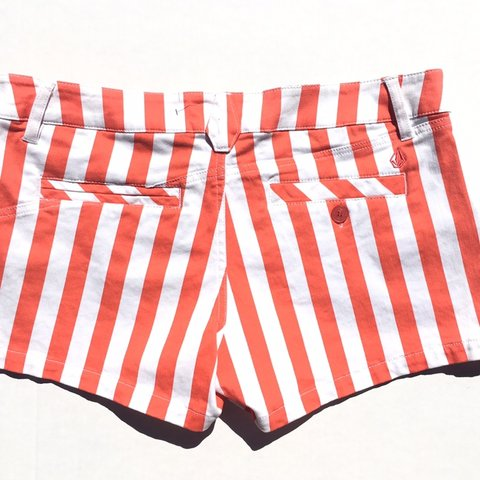 Volcom Shorts - Orange White Striped Hotpants